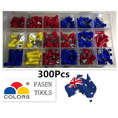 Assorted Insulated Electrical Wire Line Terminals Crimp Connector Spade BOX Kit