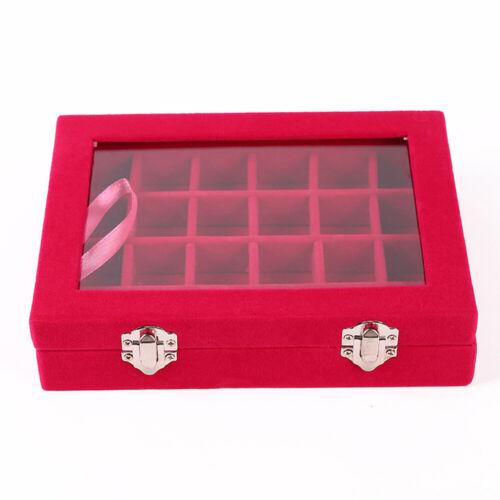 24 Grids Jewelry Organizer Box Velvet Tray Ring Earring Storage Display Case