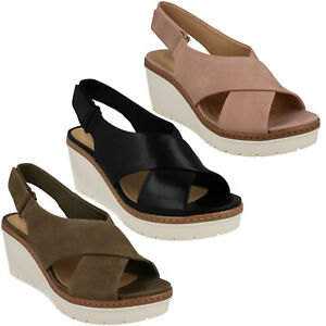 Ladies Toe Candid Wedge Casual Palm Peep Clarks Slingback Riptape tQdBrxhsC
