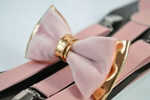 Dusty-Pink-Velvet-Gold-Faux-Leather-Bow-tie-Matched-Suspenders-Baces-AllAges