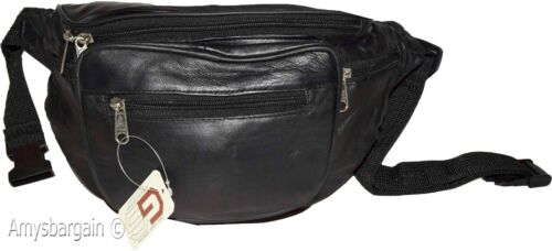leather bag Jumbo Fanny pack BN Black waist bag New Large Leather waist pouch