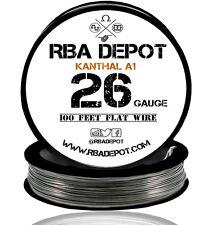 RBA Depot Flattened Kanthal 26 Gauge AWG A1 Wire 100 ft Roll Flat Ribbon