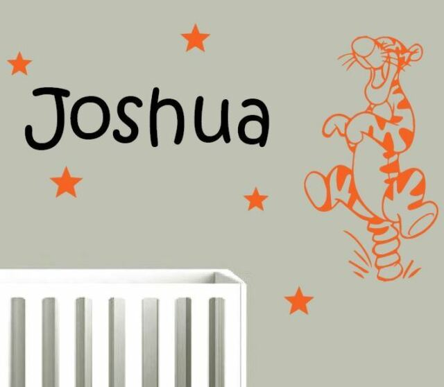 bouncing tigger with any name wall stickers. custom made stickers