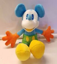 "Disney Theme Park 10.5"" BLUE Mickey Mouse Plush w/ Orange Gloves & Green Shorts"