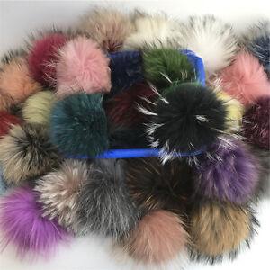 "6"" 15cm Large 1/2/3 lot Real Raccoon Fox Fur Pom pom Ball  Bag Charm Keychain"