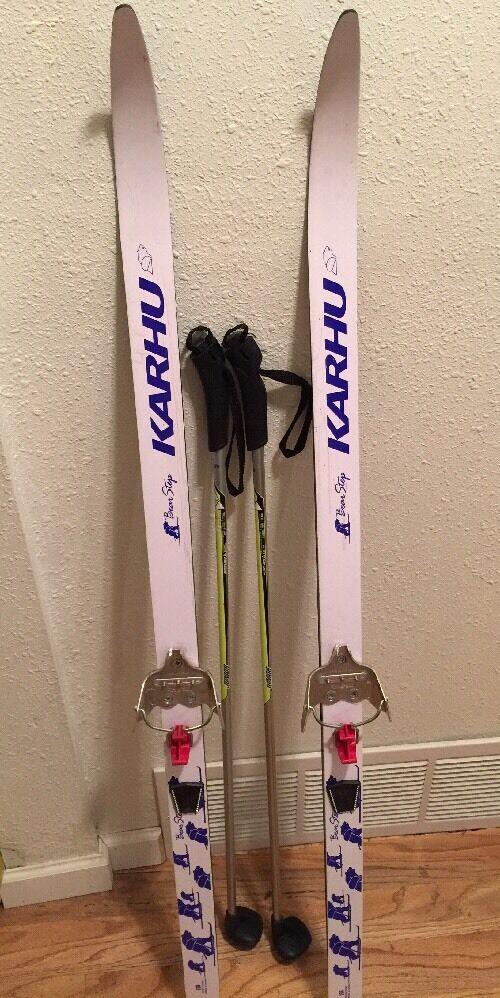 KIDS KARHU BEAR CLAW SKIS 130 CM redtefella Clips & Fischer Junior Poles 95 CM