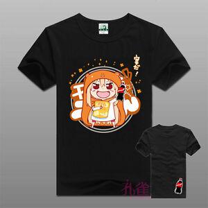 Anime-Himouto-Umaru-Chan-Black-Short-Sleeve-Casual-Cotton-T-Shirt-unisex-Tops-U
