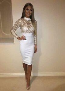 White-Gold-Detail-Midi-Dress-Size-UK-16-Brand-New