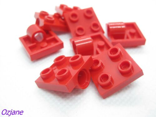 LEGO PART 2444 RED PLATE MODIFIED 2 X 2 WITH PIN HOLE X 8 PIECES