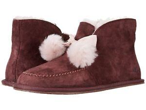 c56345901e2 Details about UGG Kallen Women's Sheepskin Slippers Boots Pom Pom (Size 9 &  10) Stout