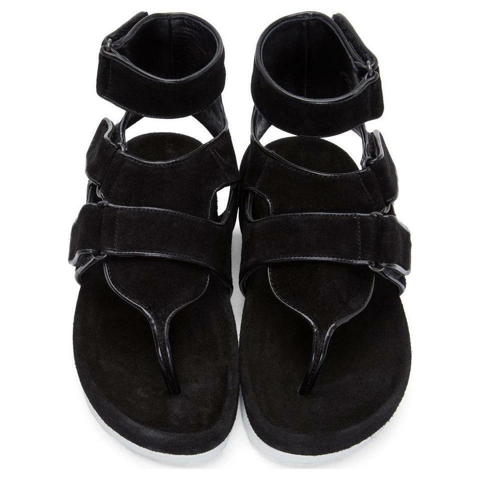 Pierre Hardy al por menor  660 nuevas sandalias de cuero y correa en el tobillo de gamuza negra (7, 8, 10)