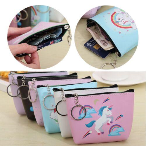 Cute Colorful Unicorn PU Coin Zero Wallets Zipper Hand Bags Purse Key Buckle