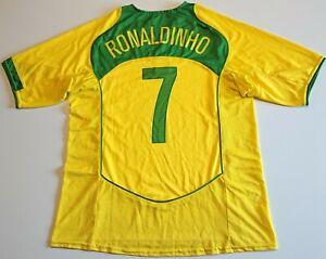 BRAZIL 2004/2005/2006 HOME FOOTBALL SHIRT JERSEY NIKE #7 RONALDINHO SIZE XL
