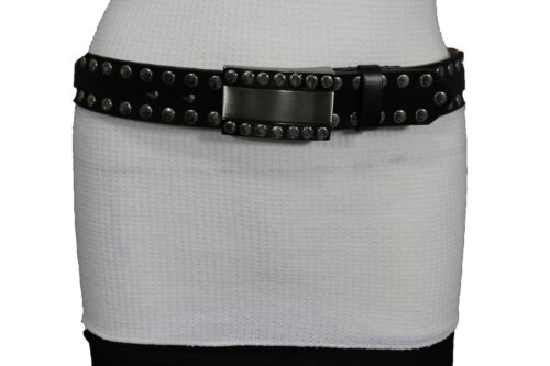 New Women Men Black Faux Leather Fashion Belt Silver Studs Metal Buckle S M L XL