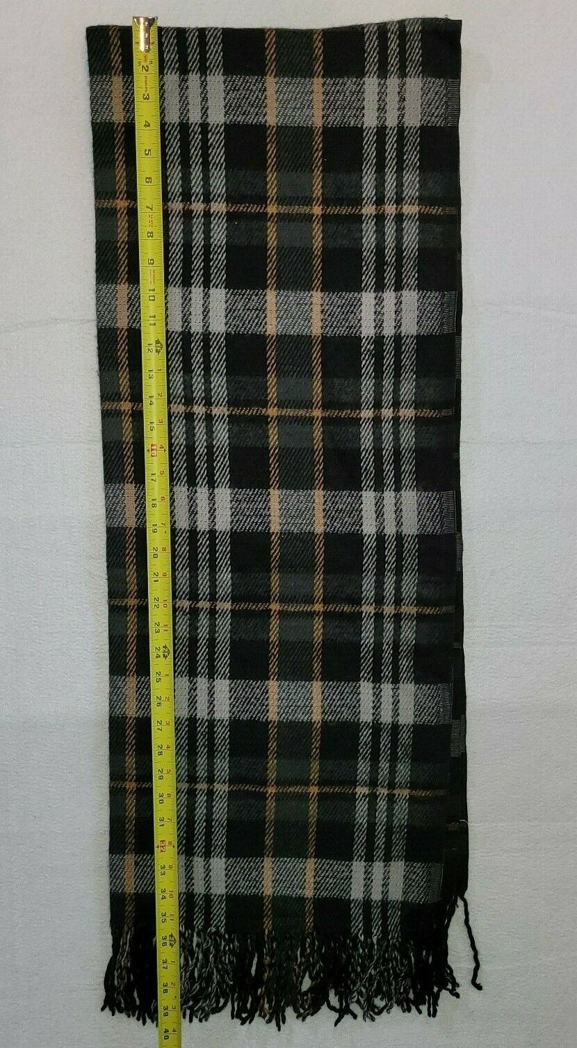 A New Day Multicolor Grey Tan Black Scarf Gingham Plaid Design Winter