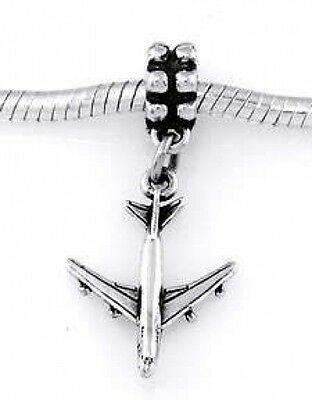 STERLING SILVER PASSENGER JET AIRPLANE EUROPEAN STYLE DANGLE BEAD