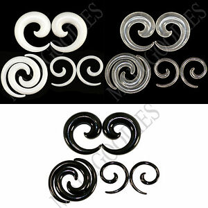 V130-White-Black-Clear-Ear-Stretchers-Tapers-Expanders-Ear-Plugs-Spiral-Swril