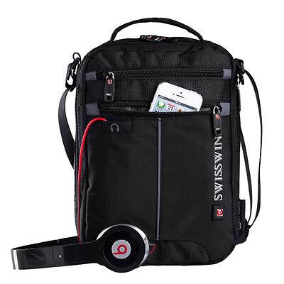 Men's Vertical Messenger Bag Travel Polyester Single Shoulder Music Bag Black