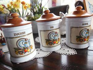 """formano""-Keramik: 3 Vorratsgefäße/-behälter mit Küchenmotiv: Tee! Zucker! Mehl!"