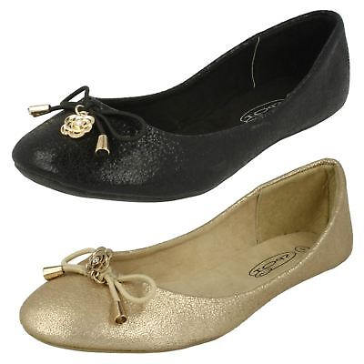Spot On Girls Flat Shoes With Flower Detailing