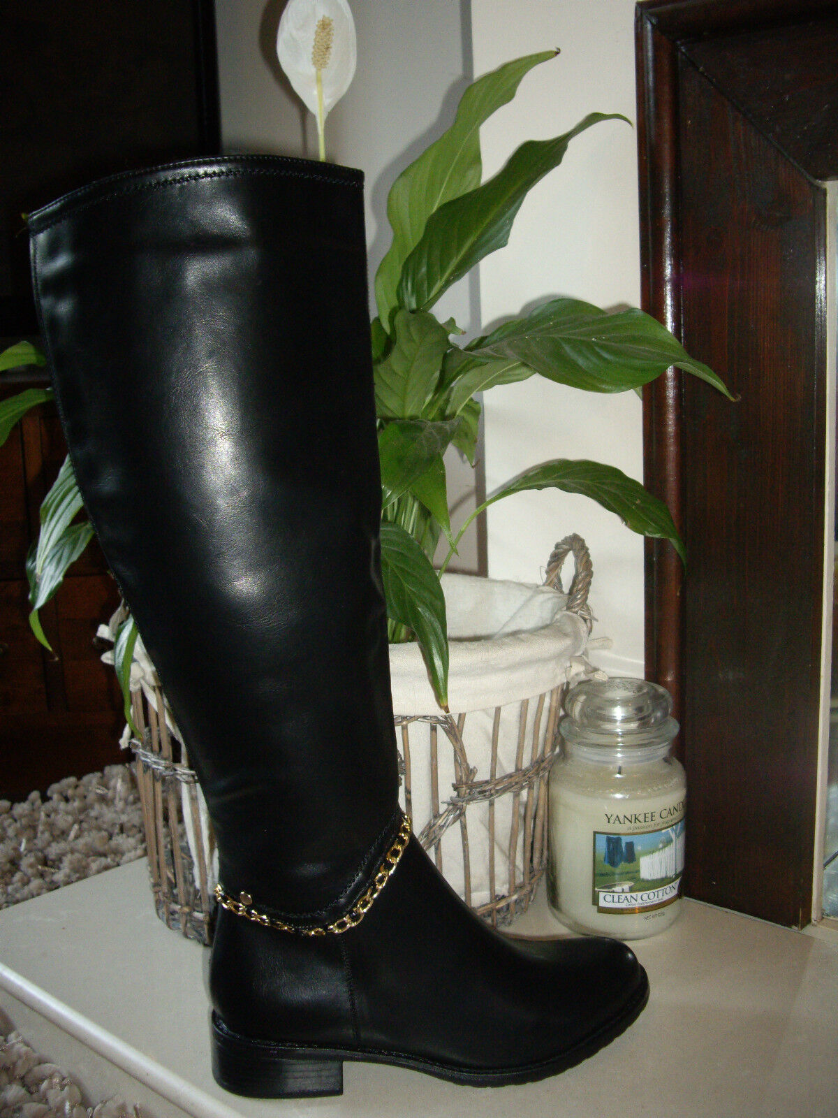 SMART SIZE UK 3 BLACK CHAIN ANKLE LONG BOOTS NEW IN BOX RRP £40