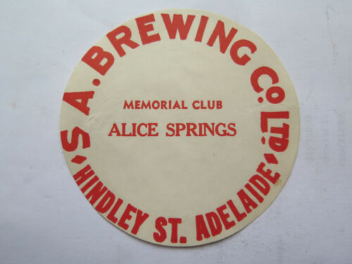 SA BREWING Co MEMORIAL CLUB ALICE SPRINGS NORTHERN TERR BEER KEG LABEL c1970s