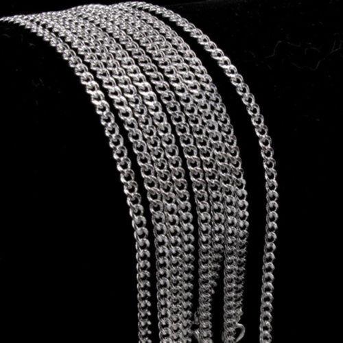 2MM Italian 925 Silver Sterling Side Flat Cuban Link Curb Chain Jewelry Gift Lot
