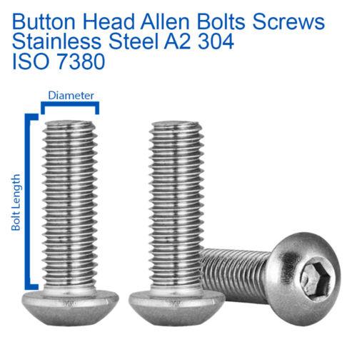 M3 x 16mm BUTTON HEAD ALLEN KEY BOLTS SOCKET SCREWS STAINLESS STEEL ISO 7380