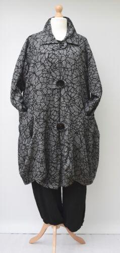 a 54 a colletto Lagenlook Size Colletto fino grigio con busto plus palloncino lungo nero qOtw6
