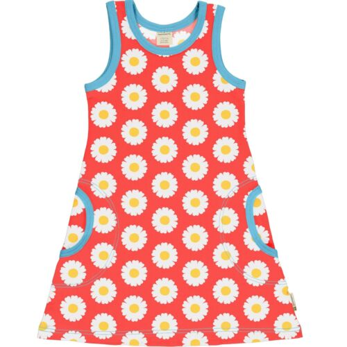 Ss20 Maxomorra Daisy Sleeveless Dress Organic Cotton Scandi