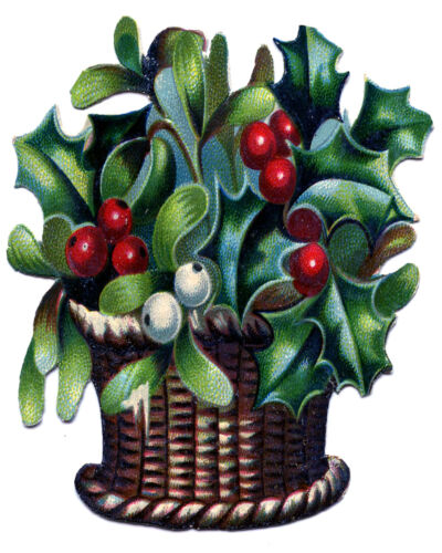 Vintage Basket Holly Merry Christmas ENAMEL TYPE METAL TIN SIGN WALL PLAQUE