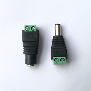 4Pcs 5.5 x 2.1mm Female Male 12V DC Power Plug Jack Adapters Wire Connector