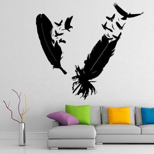 Vinilo Pegatina Calcomanía De Plumas De Aves Decoración De Parojo Decoración De Habitación volando Cuervo Cuervo Eagle