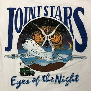 Vtg-Joint-Stars-Eyes-of-the-Night-Air-Force-Shirt-Small-White-Double-Sided-Tee