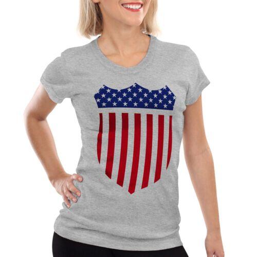 États-Unis Amérique Medal Médaille Blason Drapeau T-shirt Femmes Shérif Stars réparti US