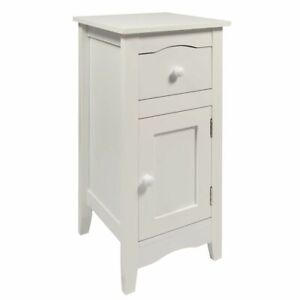 Narrow Bedside Table Slimline With1 Drawer And Cupboard With Door Compact White