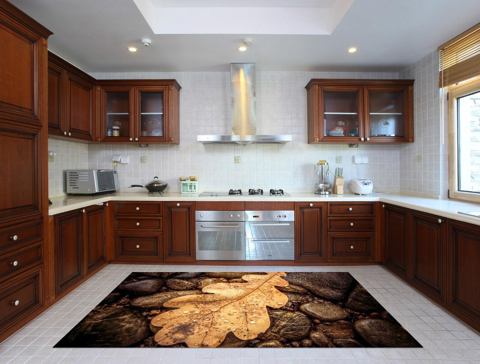 3D Stones Leaf 38 Kitchen Mat Floor Murals Wall Print Wall Deco AJ WALLPAPER CA
