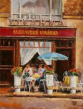 YARY DLUHOS Czech winery cafe + FREE T SHIRT PROMO OFFER Original Oil Painting -