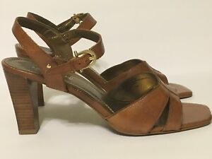 ade8f0e64b1 Nickels Soft Women s Leather Strappy Brown Heel Sandals Chago Sz 7.5 ...