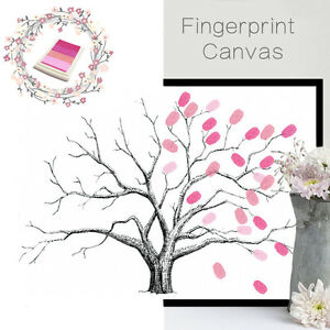 Image Is Loading Canvas Wedding Tree Fingerprint Signature Guest Book Decor