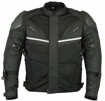 Motorcycle Motorbike Sporty Jacket Textile Cordura Air Mesh CE Armoured Black