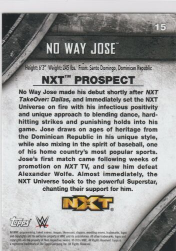 2016 Topps NXT Online Exclusive Base No Way Jose #15