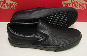 b1c55e7980f Vans Classic Slip On Perf Leather VN-00018DGKA Black Black Women s ...