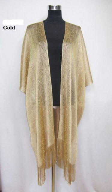 bc1be0609aa Ladies Women Gold Tassel Glitter Long Kimono Boho Beach Cover up Top ...
