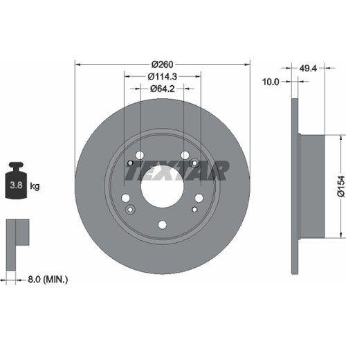 2x TEXTAR BREMSSCHEIBEN Ø260mm SET HINTEN HONDA ACCORD VII 2.0 2.4 2.2 i-CTDi