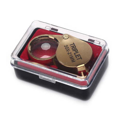 Portable 30X Power 21mm Jewelers Magnifier Gold Eye Loupe Magnifying Glass UQ