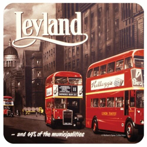 RETRO 1950/'s LONDON LEYLAND RED BUS 10cm Cork Coaster//DrinksMat//Great Britain//UK