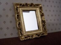 Dolls House Miniatures 1/12th Scale Gold Effect Framed Mirror D487