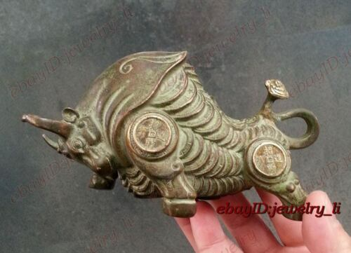 Collectible ancient Chinese Antique Style Bronze statue ox Money Bull Patina