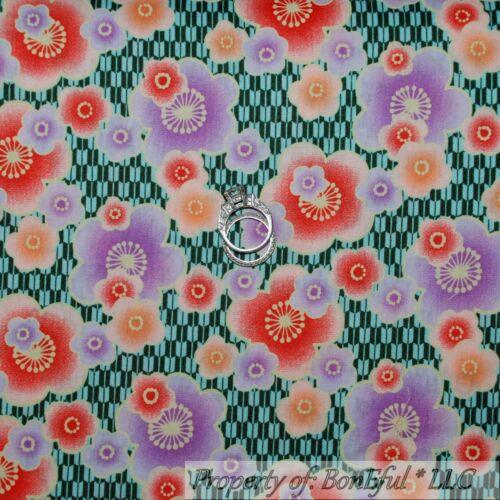 BonEful FABRIC FQ Cotton Quilt Blue Purple Orange FLOWER Asian Dot Kona Bay RARE